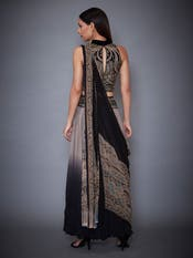 Grey & Black Pre-Stitched Saree