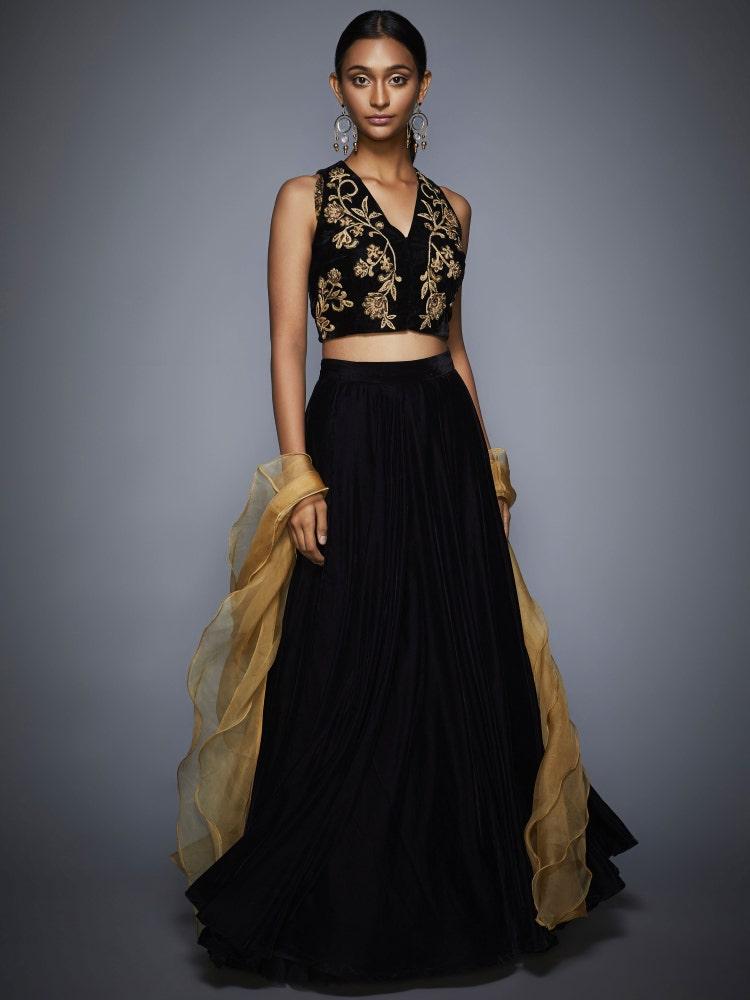 Black & Gold  Flying Carpet Velvet Lehenga Set