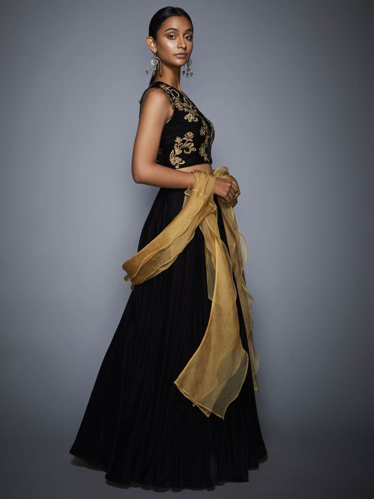 Black & Gold Velvet Lehenga Set