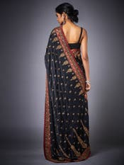 Black & Burgundy Embroidered Saree With Unstitched Blouse