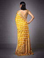 Yellow Agora Jasmine Embroidered Saree With Unstitched Blouse
