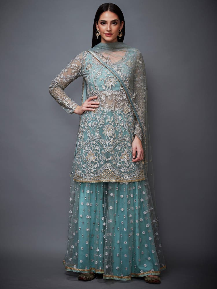 Powder Blue Floral Ensemble