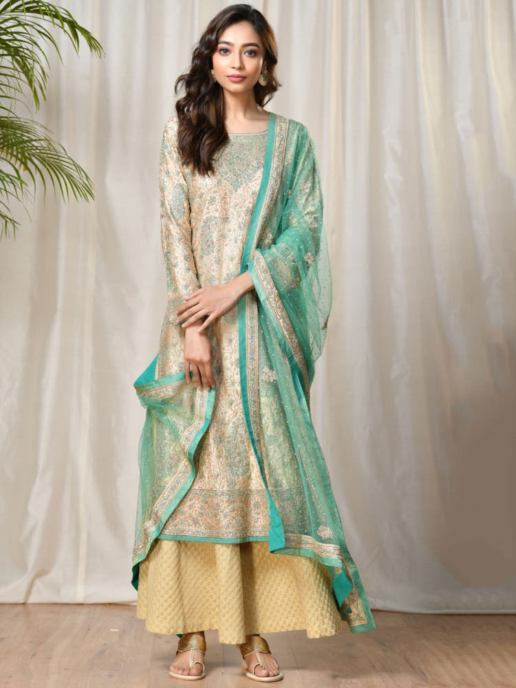 Beige & Turquoise Silk Satin Embroidered Suit