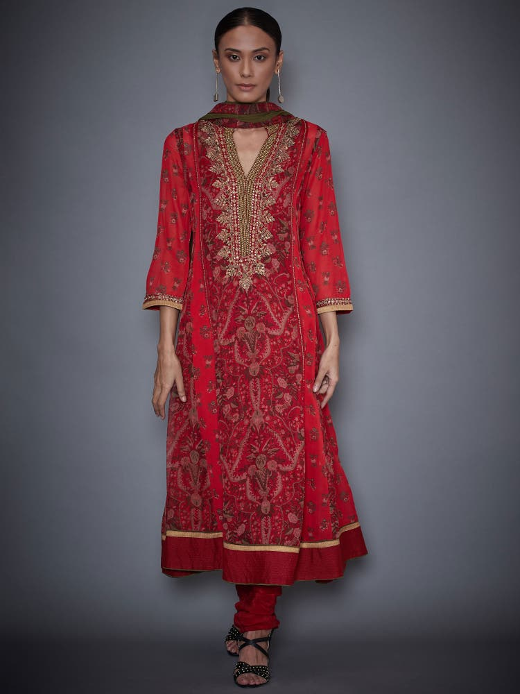 Red & Olive Embroidered Suit Set