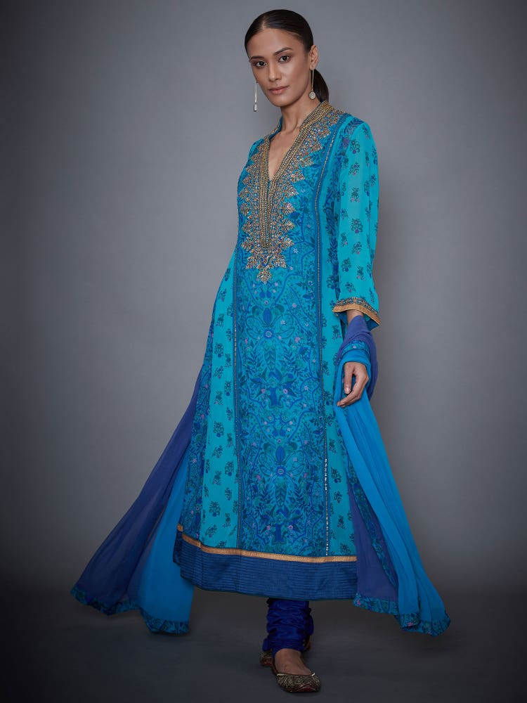 Royal Blue & Turquoise Chidambaram Embroidered Suit Set