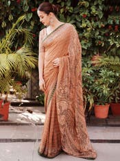 Surveen Chawla in a Beige & Olive Green Jamawar Saree with Unstitched Blouse