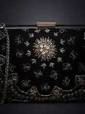 Black Embroidered Clutch