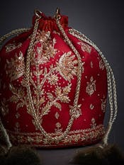Red Embroidered Potli