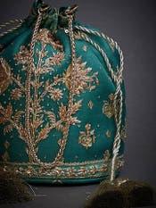 Emerald Green Embroidered Potli