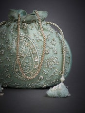 Pastel Blue Pearl Embroidered Potli