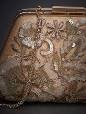 Beige Kunjara Embroidered Clutch