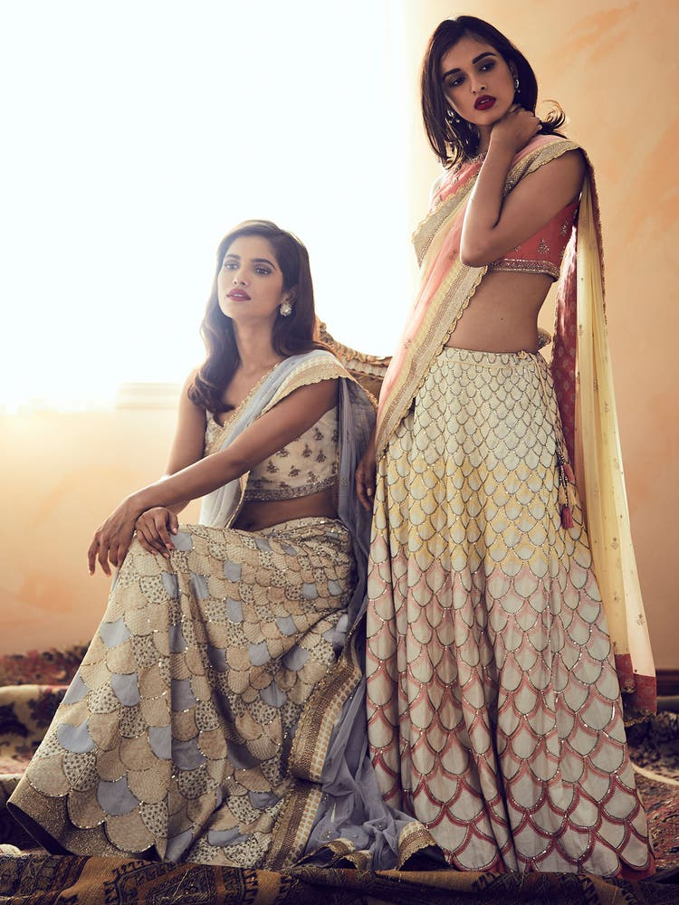 Off White & Grey Embroidered Scallop Lehenga Set