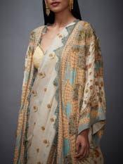 Beige & Sage Green Chisti Printed Saree With Jacket