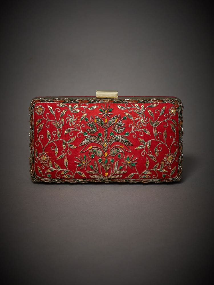 Red Embroidered Surya Clutch
