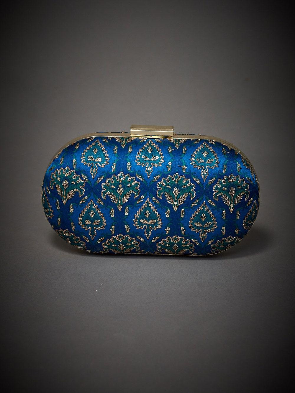Royal Blue Embroidered Anantnag Clutch