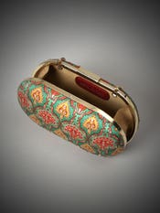 Jade & Multi Colored Embroidered Anantnag Clutch
