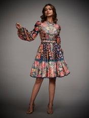 Navy & Multi Navina Printed Dress