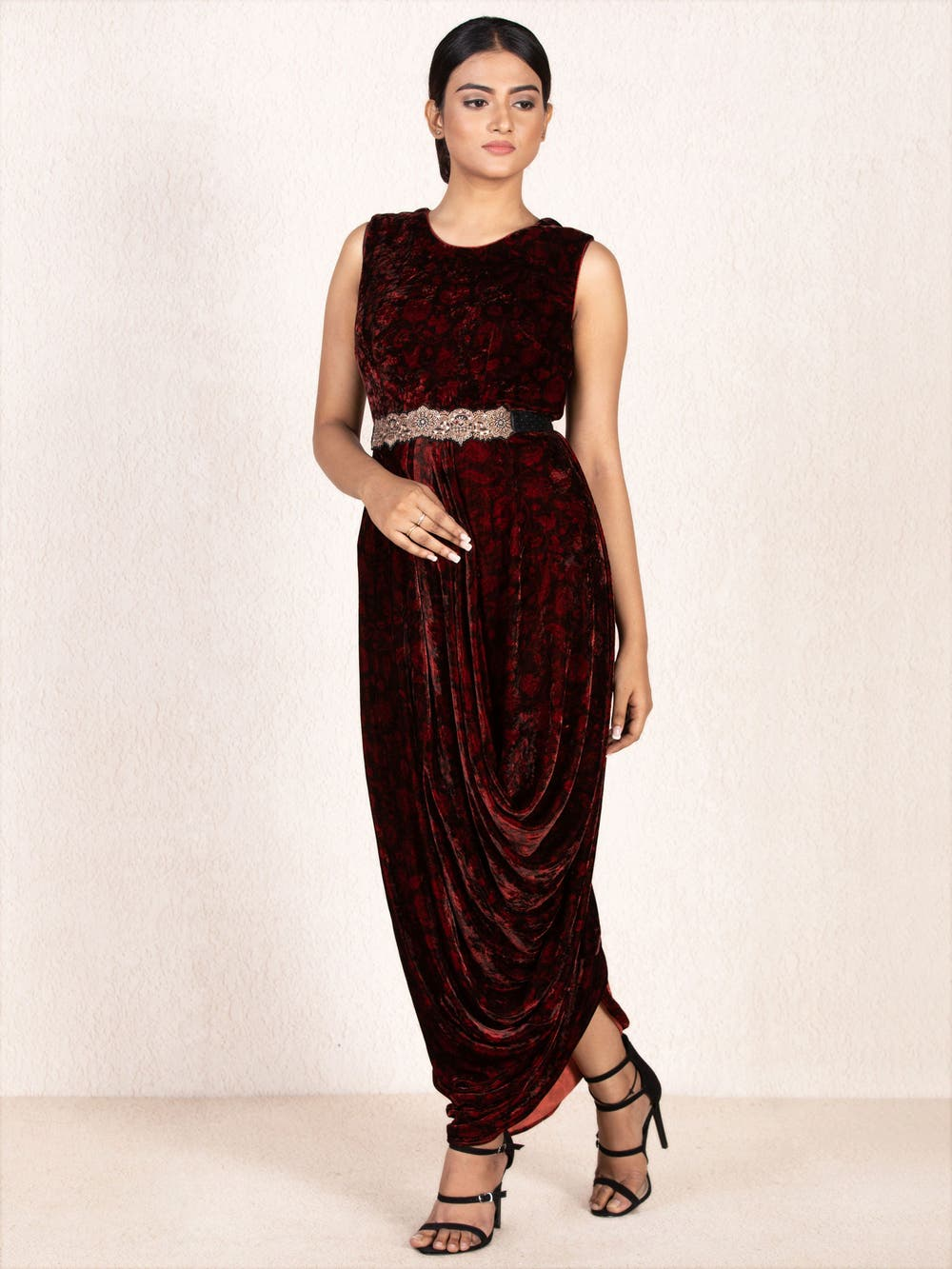 Burgundy & Black Embroidered Cowl Dress