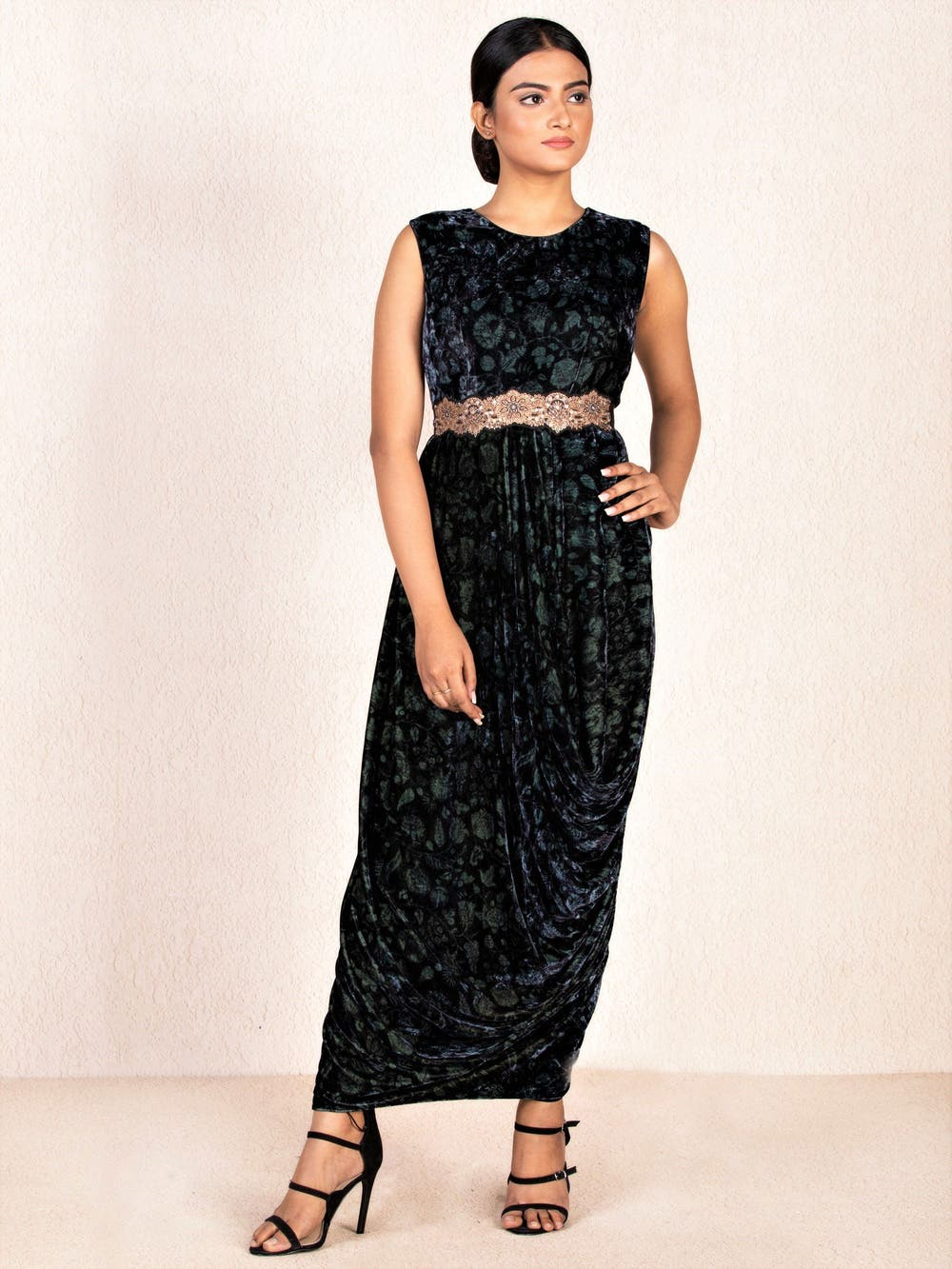 Grey & Black Embroidered Cowl Dress