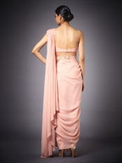 Peach Florance Embroidered Draped Saree With Stitched Blouse