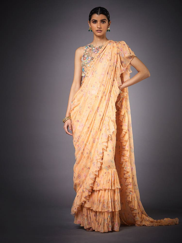 Peach & Multi Colored Florance Embroidered Draped Saree With Stitched Blouse