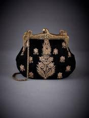 Black Embroidered Velvet Clutch