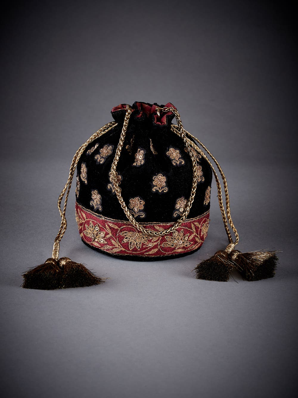 Black Embroidered Velvet Potli