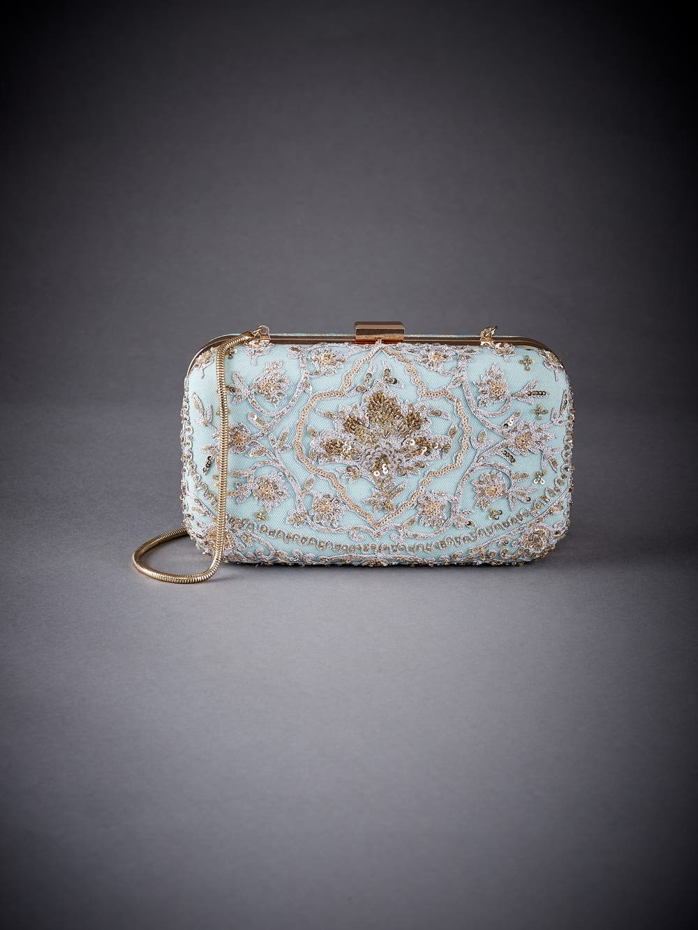Sea Green Embroidered Clutch