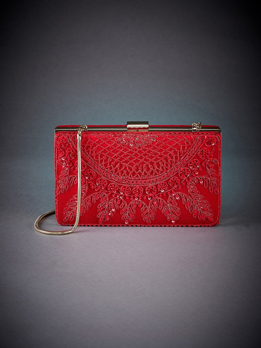 Red Madame Scarlet Embroidered Clutch