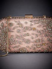 Peach Embroidered Clutch