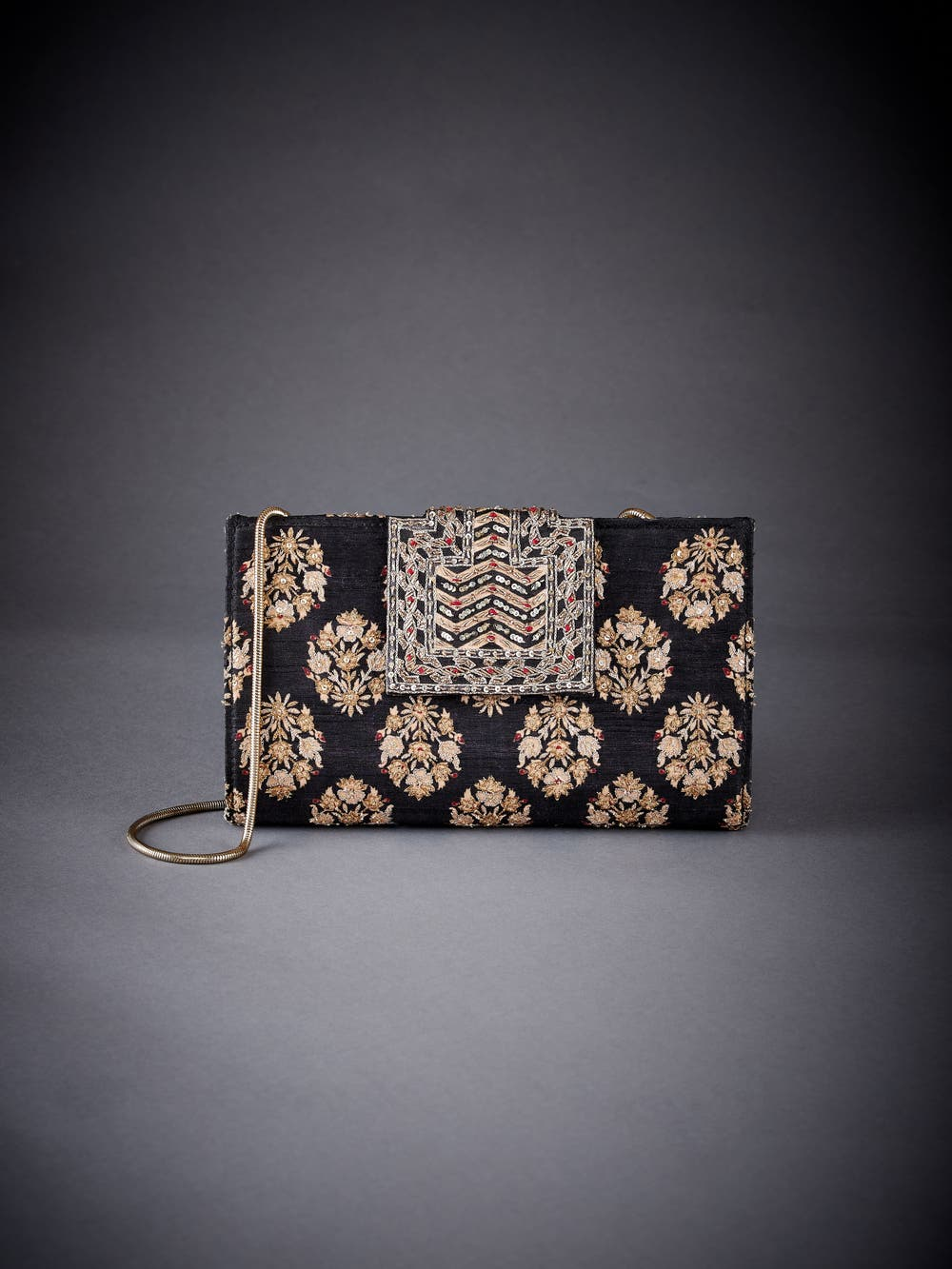 Black Embroidered Evening Clutch
