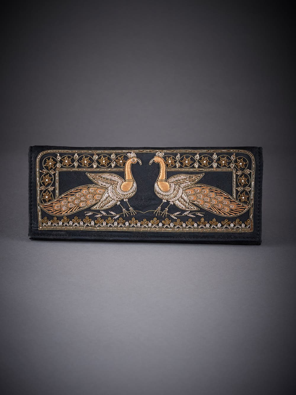 Black & Gold Embroidered Evening Clutch