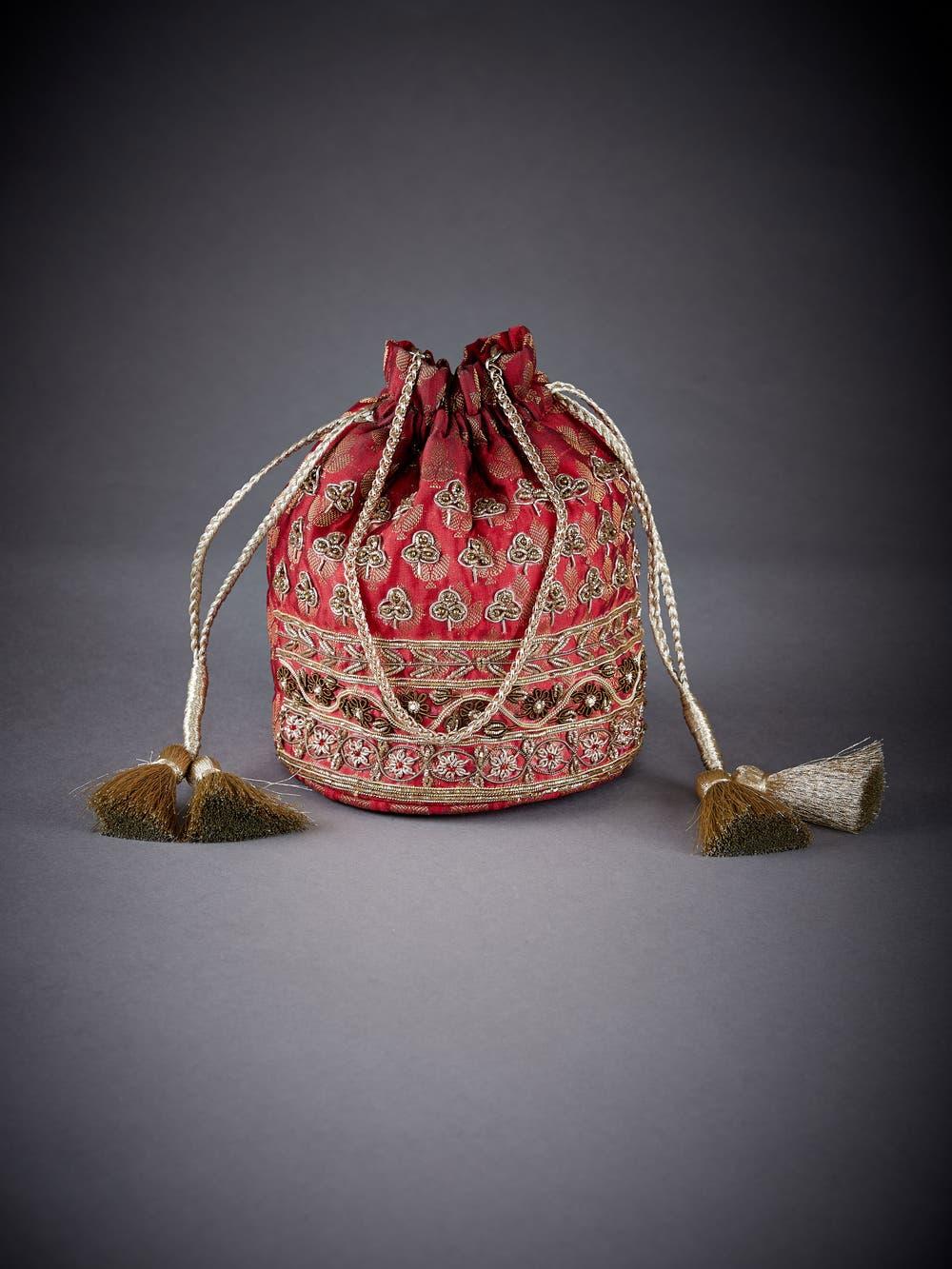 Maroon Embellished Brocade Potli