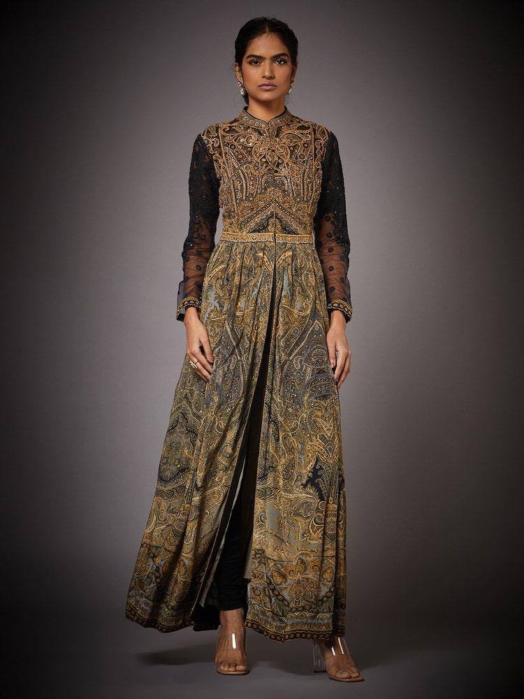 Black & Beige Niscira Embroidered Dress