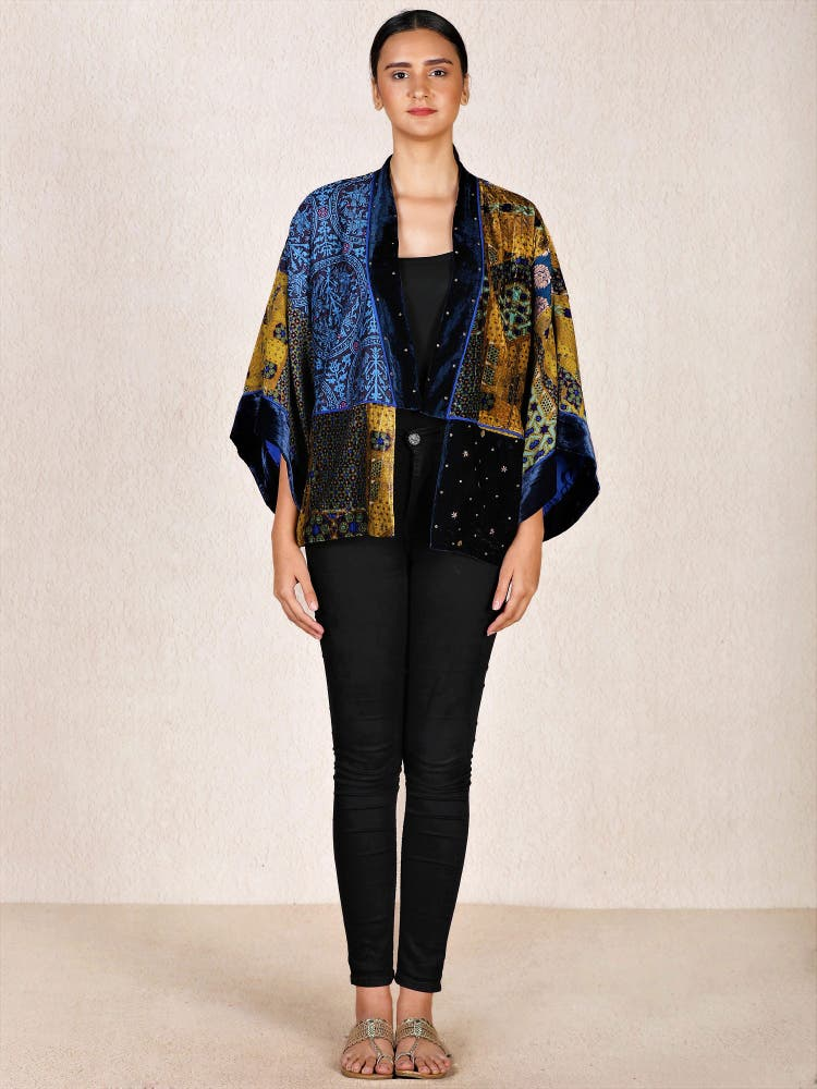 Blue & Ochre Embroidered Velvet Shrug