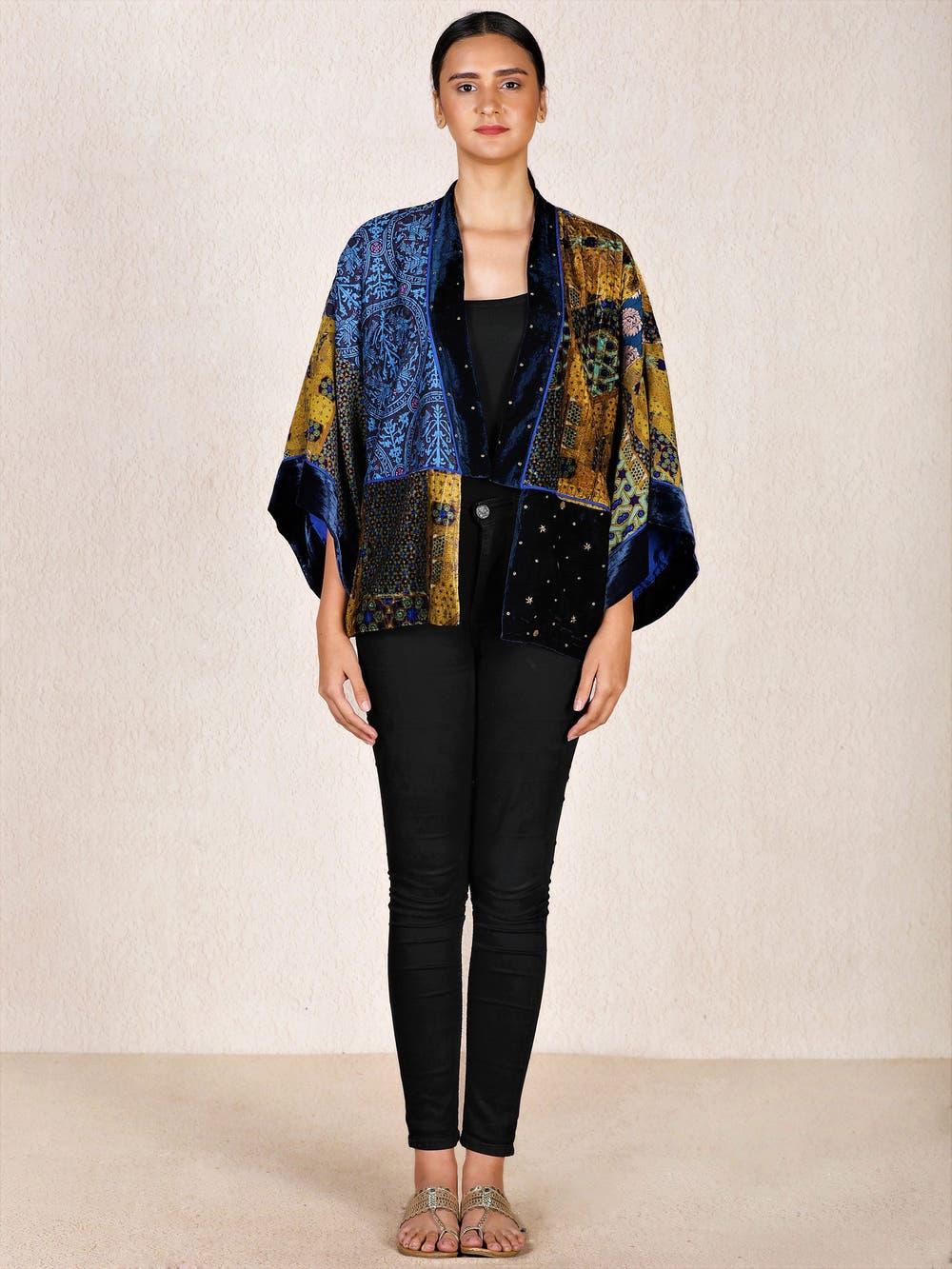 Blue & Ochre Turkish Carpet Embroidered Velvet Shrug