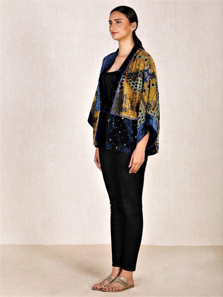 Blue & Ochre Embroidered Velvet Shrug