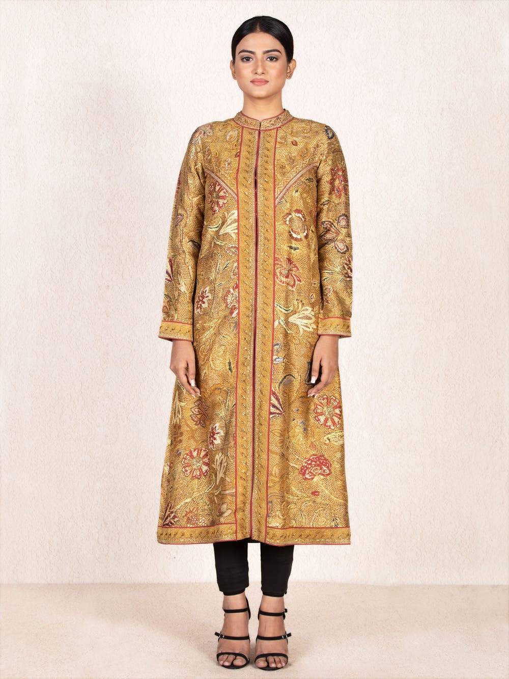 Ochre & Beige Mughal Love Story Embroidered Jacket