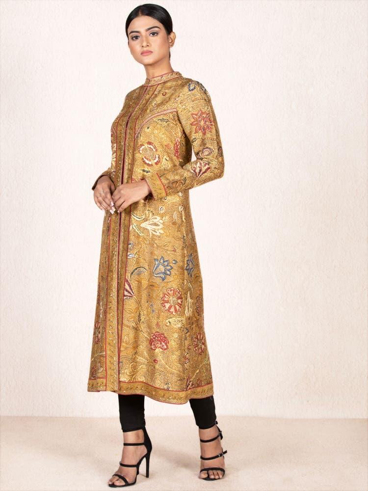 Ochre & Beige Embroidered Jacket