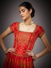 Red & Saffron Uttama Zardozi Hand Embroidered Lehenga Set