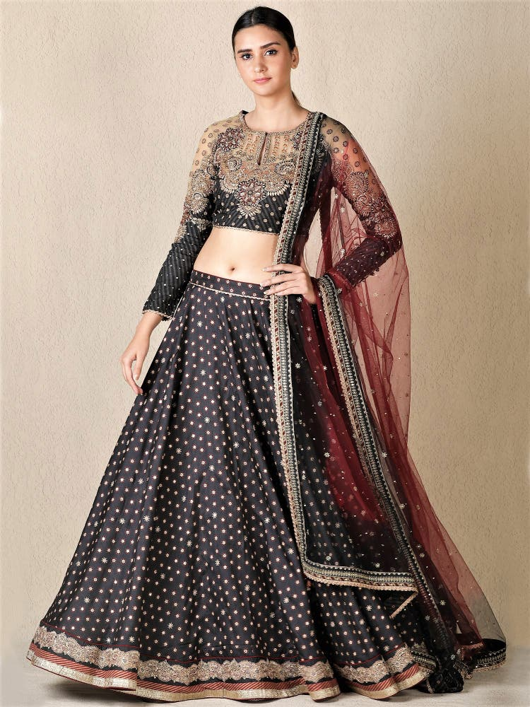 Black & Burgundy Embroidered Lehenga Set