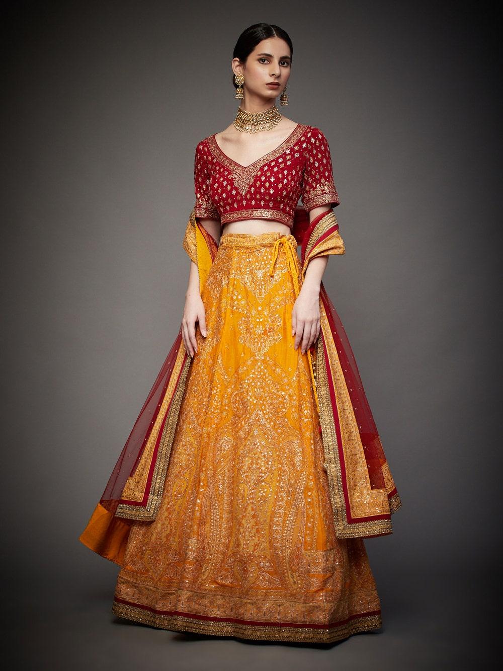Yellow & Red Amira Aari Embroidered Lehenga Set