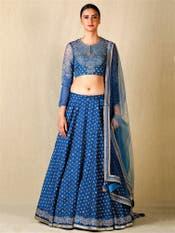 Sapphire Blue Embroidered Lehenga Set