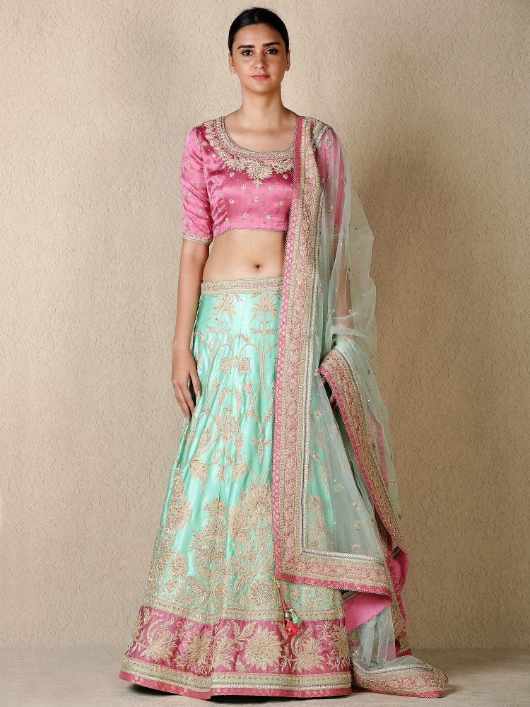 Mint Green & Pink Embroidered Lehenga Set