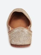 Gold Alvidah Leather Mojari