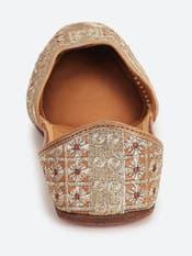 Gold Leather Mojari