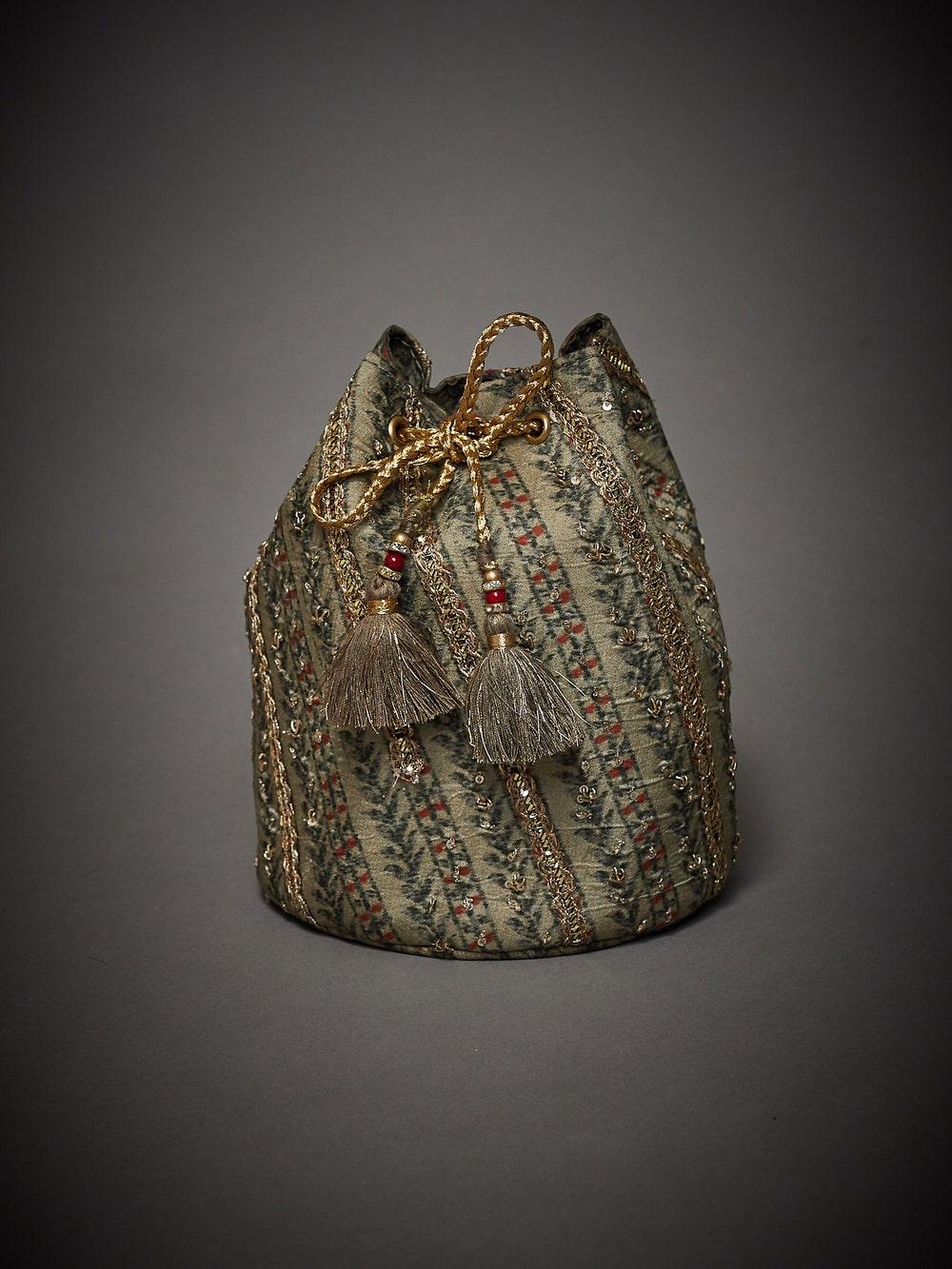 Khaki Embroidered Uttama Potli