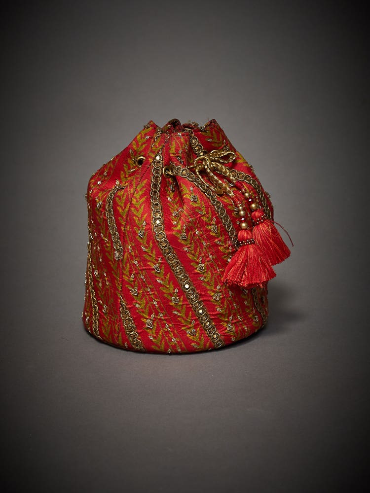Red & Saffron Embroidered Uttama Potli