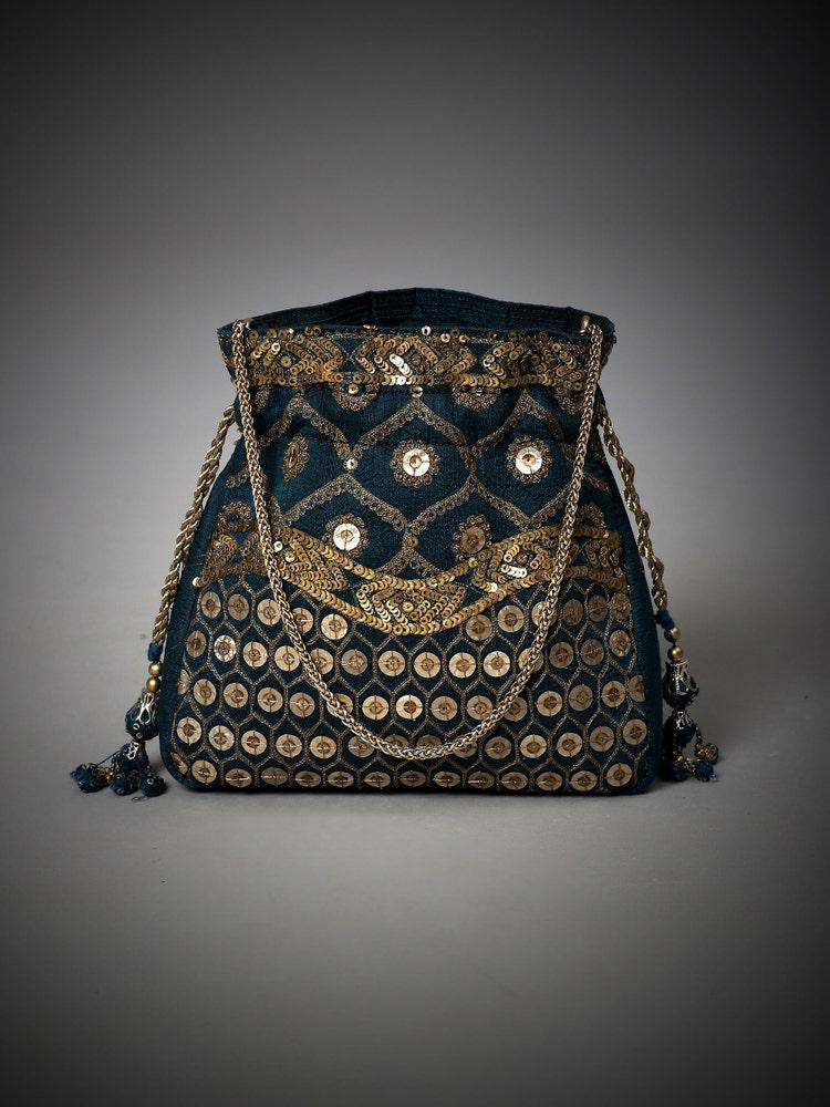 Teal Blue Embroidered Yamini Potli
