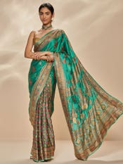 Jade & Multi Colored Anantnag Aari Hand Embroidered Saree With Unstitched Blouse